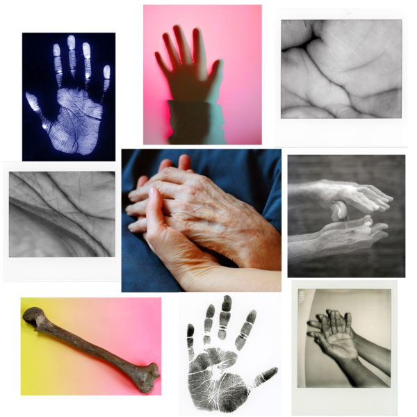 An photo collage of various images of hands, some handprints, some images of hands touching, some close up images of palms, so you can see all the details in the skin.
